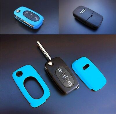 Audi Blue Remote Flip Key Cover Skin Shell Cap Fob Protection Bag Hull Case-