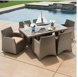 Seven piece outdoor patio dining table