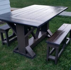 Barn wood mix custom rustic trestle table and benches