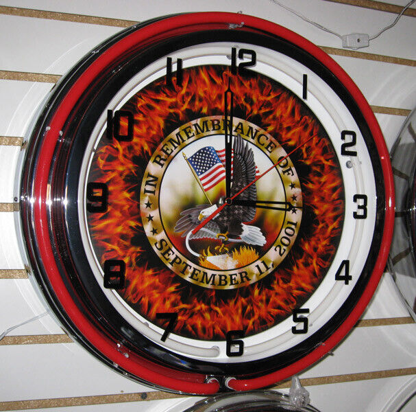 September 11th  in Remebrance Fire Department Firehouse Large Neon Clock