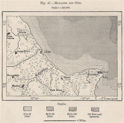 Monastir and Sûsa/Sousse (Soussa) . Tunisia 1885 old antique map plan chart