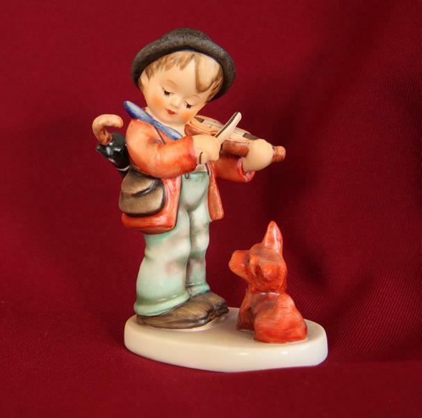 Vintage Hummel Figurine #1 PUPPY LOVE Boy Scotty dog  Violin TMK-6 Artist Signed