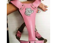 Pink leather dog harness