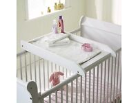 Saplings wooden cot top nappy changer in white.