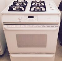 Clean and White Dishwasher + Stove + Refrigerator