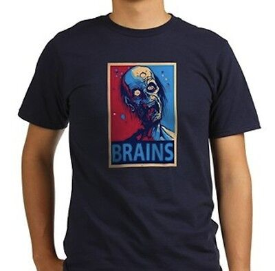 NEW! Gray Zombie Brains Obama Look Hope Funny Men Gift Birthday Shirt 5 - Zombie Brains