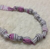 Pink, white, and gray teething necklace - new