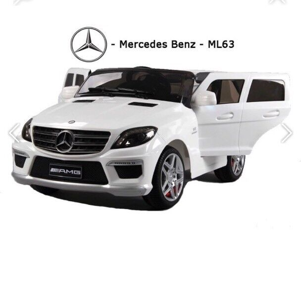 Mercedes ML63, Parental Remote Self Drive, Rubber Tyres, Ride-On White
