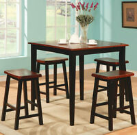 Oak & Black Counter Height Pub Style Dining Set, FREE Delivery