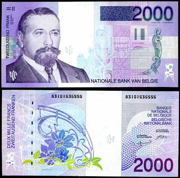 BELGIUM 2000 2,000 FRANCS 1994/2001 P 151 UNC-