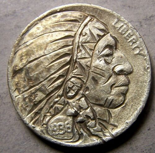 "HAND CARVED CLASSY HOBO COIN, OOAK,""..Chief Shy Feather...sota`FullHorn+ date !"""