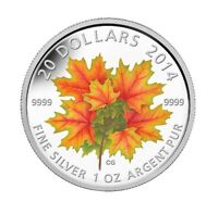 2014 Glow-in-the-Dark 1 oz Silver Maple Leaves Coin