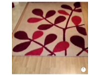 Blood red and cream snow flower rug