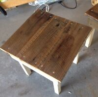 Side tables out of barn wood top