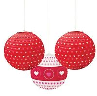Pack Of 3 Paper Globe Lanterns Hanging Decorations With Hearts Print Design - unbranded - ebay.co.uk