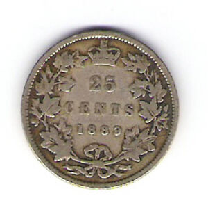 Coin 1889 Canada 25 Cent Quarter 'Closed 9' Kingston Kingston Area image 2