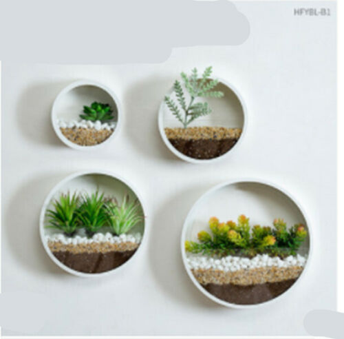 Metal Plant Pot Succulent Flower Planter Round Wall Hanging Bonsai Home Decor