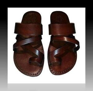 Sandales En Cuir Marron Pour Hommes Et Femmes Biblique Chaussures De