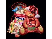 Cute festive teddy tin filled with various sweets