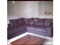 Left Hand Corner Sofa Brown Fabric