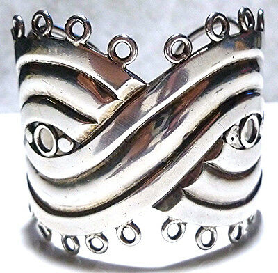 "THE ""MASK"" SPRATLING MEXICO MEXICAN STERLING SILVER LARGE ESTATE CUFF BRACELET"