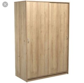 2 doors sliding wardrobe-oak finish (brand new) flat pack