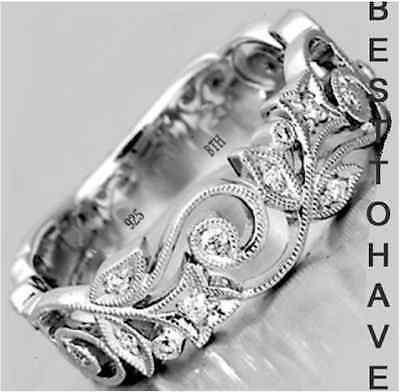 925 Sterling Silver Ladies Luxury Unique Wedding Engagement Bridal Band Ring