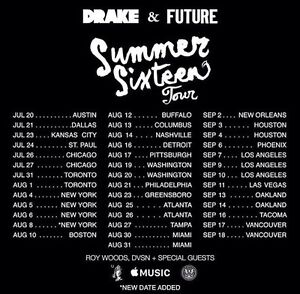 LOOKING FOR DRAKE AND FUTURE SUMMER SIXTEEN TOUR TICKETS