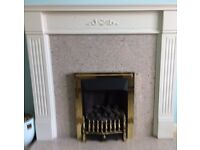 Wooden Fireplace Surround/Mantel, Granite Back Panel & Granite Hearth