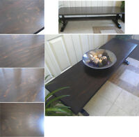 Beautiful Refinished 2-Tones Xtra Long & Slim Wood Coffee Table