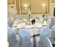 100 x White Arched Front Lycra Chair Covers and more to rent SPECIAL OFFER***