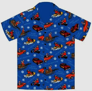 Cruisin-Santa-Claus-Hawaiian-Camp-Shirt-by-David-Carey-Originals-Brand-New
