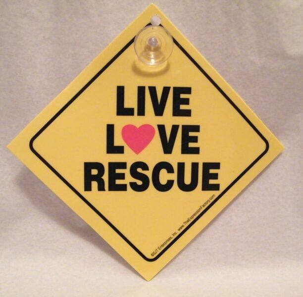 Live Love Rescue Car Auto Sign Animal Rescue ASPCA Charity