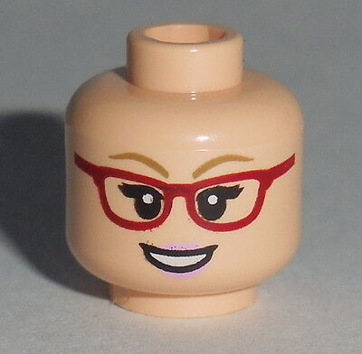 HEAD FF016 Lego Female Red Glasses Open / Angry Smile Light Flesh