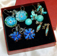 BEAUTIFUL TURQUOISE AND GLASS EARRINGS