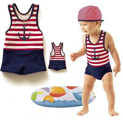 Baby Kids Boy Girl Summer Beach Swimwear Swimsuit Swimming Costume+Hat Set 6M-5T