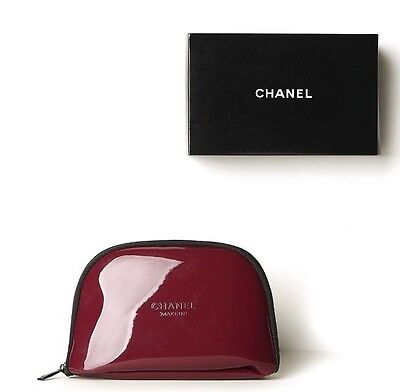 NEW Chanel Burgundy Red makeup Travel  Cosmetic Case Bag Clutch With BOX