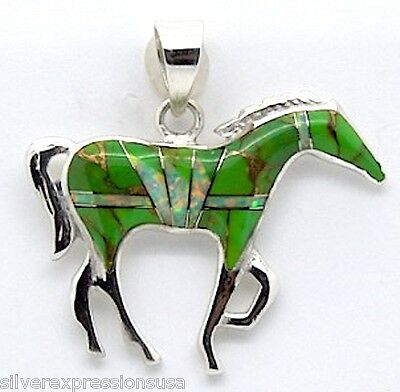 Green Turquoise & Fire Opal Inlay 925 Sterling Silver Horse Pendant Necklace