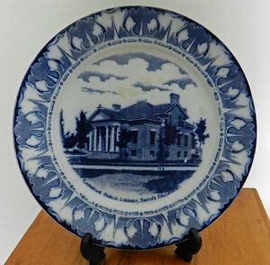 """ANTIQUE 10"""" FLOW BLUE PLATE - CARNEGIE LIBRARY SMITH'S FALLS ONT"""