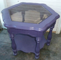 Purple End table w/tinted beveled glass