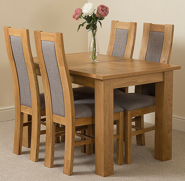 Hampton 120 160cm Extending Oak Dining Table Chairs With Stanford Oak Chairs Ebay
