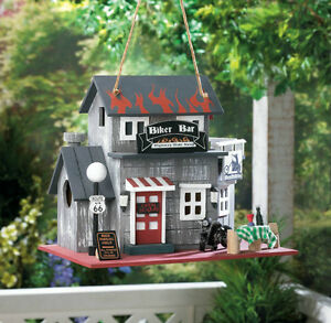 Route 66 Rustic Biker Bar Birdhouse With Cleanout Hole New
