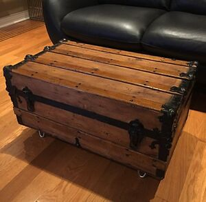 Antique Steamer Trunk - Wood Refinished - great Coffee Table