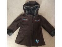Girls Coat age 3/4 brown fur lined
