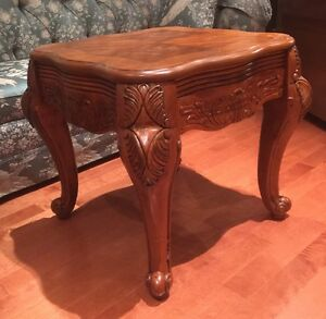 Solid wood, beautifully carved coffee table,and side table.