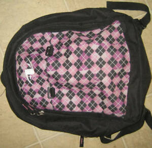 black and pink backpack