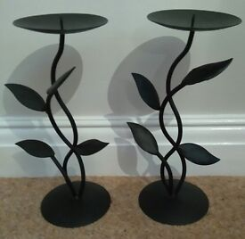 Two Metal Black Candle Holders