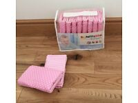 PINK COT DUVET COVER FITTED SHEET PILLOWCASES & BUMPER SET