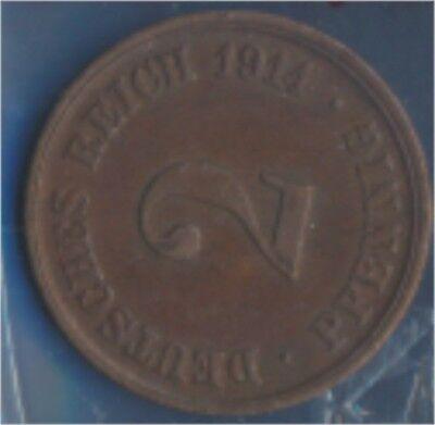 Deutsches Reich Jägernr: 11 1914 J sehr schön Bronze 1914 2 Pfennig (7848973