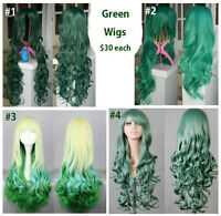 NEW Deluxe Long Curly GREEN Cosplay Wigs (~80cm)